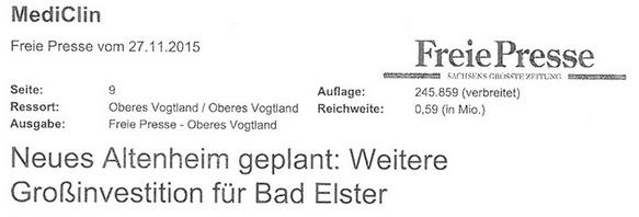Neues Altenheim in Bad Elster geplant