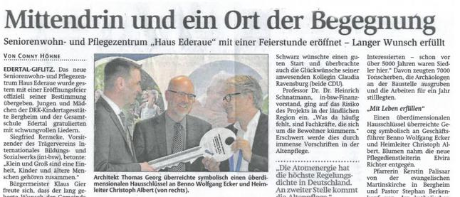 Eröffnung des Pflegeheimes in Edertal- Giflitz